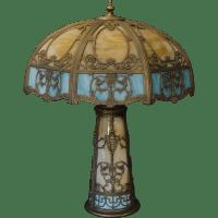Large Fabulous Empire Lamp Co. Angel 22 Panel Slag Glass ...
