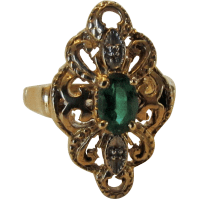 10 Karat Yellow Gold Marquis Emerald Ring With Tiny ...