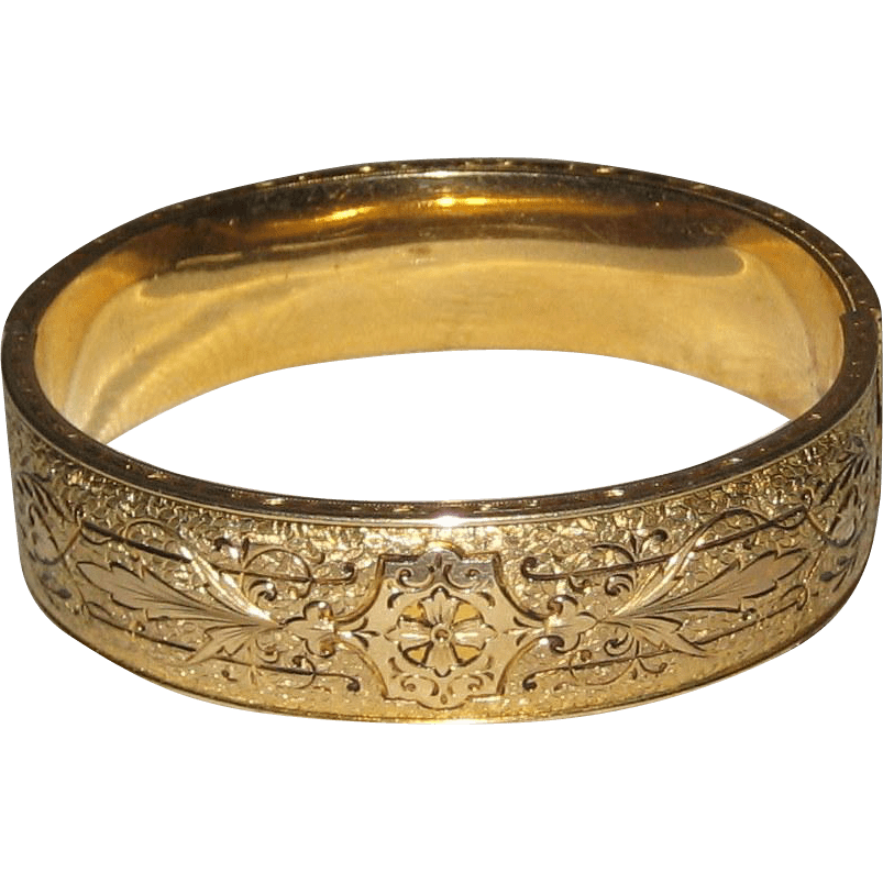 Hayward 10k Gold Filled Taille 'epargne Bangle Bracelet - Circa 1900 Suzanstreasures
