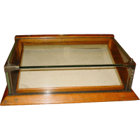 Small size oak & glass chewing gum counter top display ...