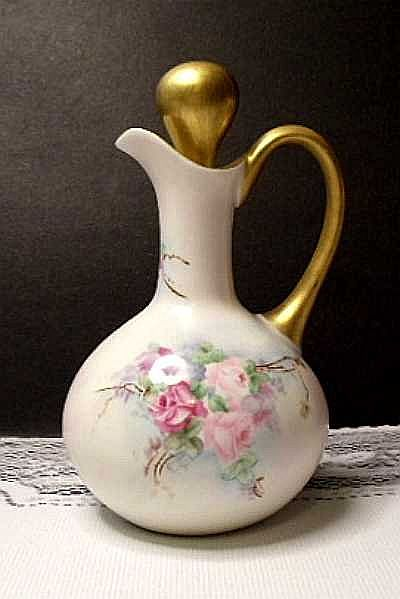 Antique Hand Painted Limoges Porcelain Cruet  Floral  Roses from tamistreasures on Ruby Lane