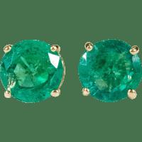 Natural Emerald Earrings 14k Gold Columbian Emerald Stud ...