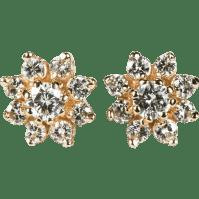 Natural Diamond Earrings 14k Gold Screw Back .94ctw Flower ...
