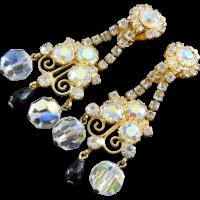 "Fabulous Flashy Long Vintage Crystal Earrings 3"" Long ..."
