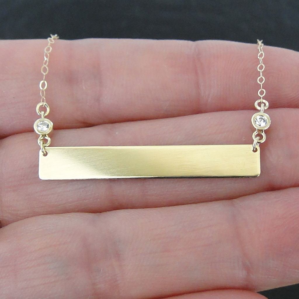 14k Gold Diamond Nameplate Necklace Yellow 17 1 4