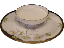 50% OFF! Hand Painted Porcelain Serving Dish White & Pink ...