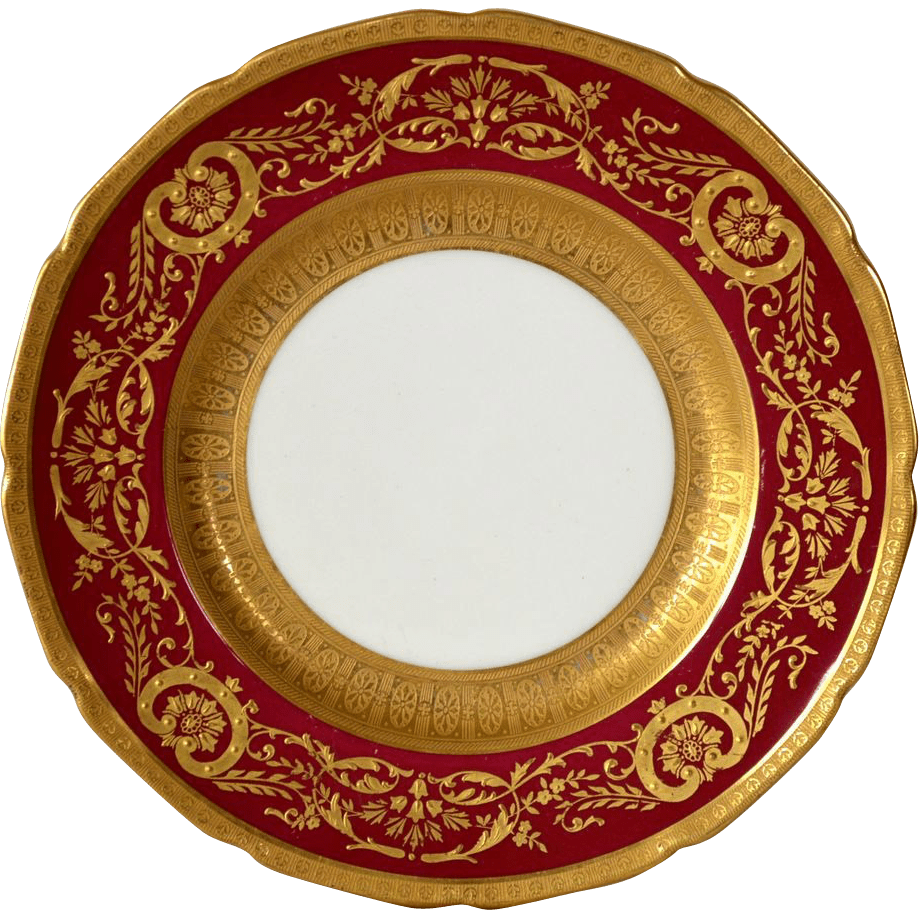 Elegant English China Cabinet Plate  Deep Red with Gold