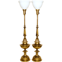 Pair Brass Stiffel Lamps Mid-Century from tolw on Ruby Lane