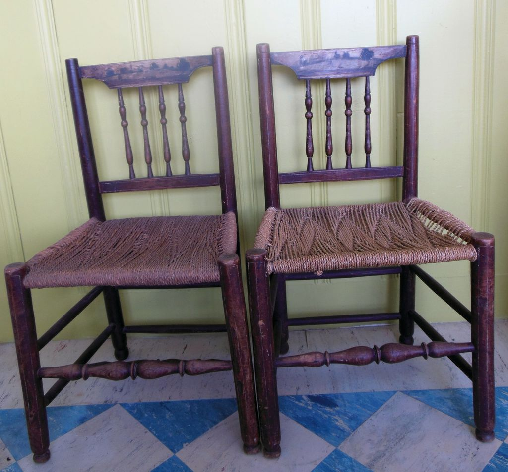 hand painted wooden chairs tufted chair cushions 18c landscape rope seat wood peg jointed