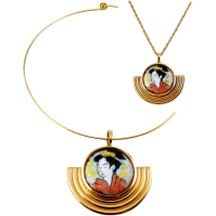 Enamel Geisha Pendant with Neck Ring Collar or Chain ...