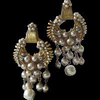 MIRIAM HASKELL Dripping Pearls & Rhinestones Large Vintage ...