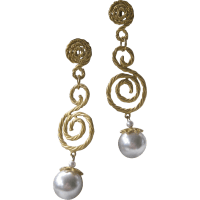 Vintage Goldtone & Dangling Pearl Shoulder Duster Earrings ...