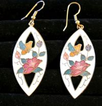 Vintage Cloisonne Butterflies And Flowers Earrings from ...