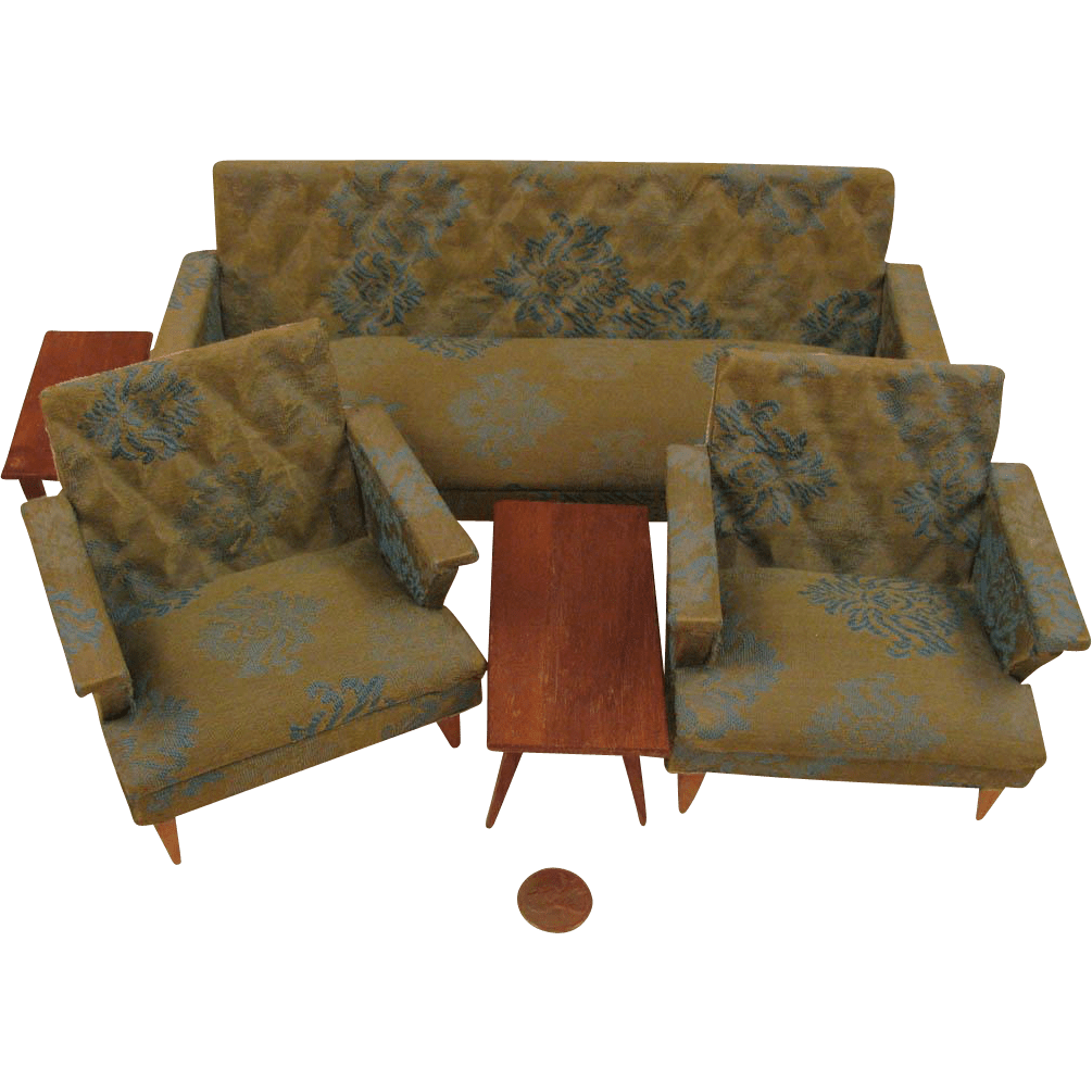 brocade sofa fabric leather beds with storage mid century modern doll house 5 pc. living room furniture ...