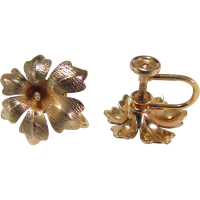 14K Gold Flower Screw Back Earrings SOLD on Ruby Lane
