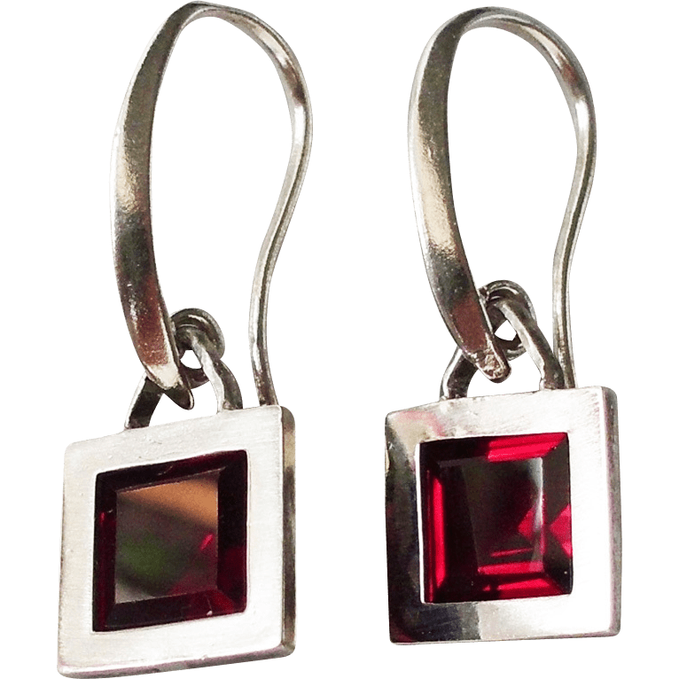 Red Framed Silver Vintage Earings