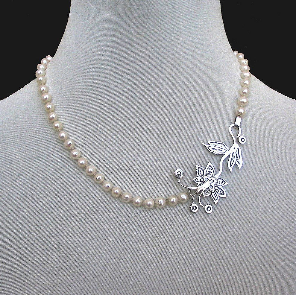 Romantic Contemporary jewelry Designer necklace of pearls and from yifataharoni on Ruby Lane