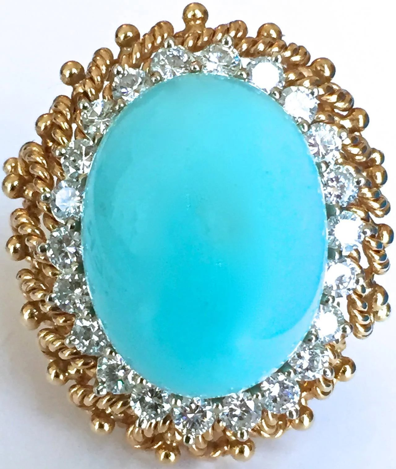 Turquoise Diamond Gold Cocktail Ring  Kimberly Klosterman