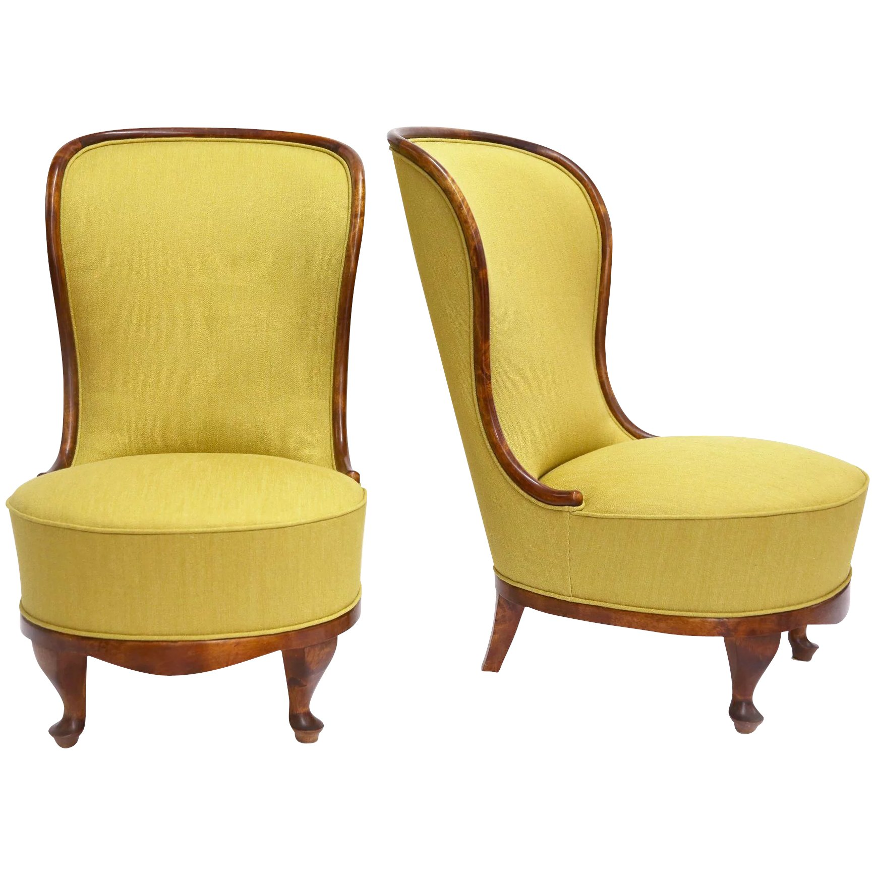 Pair Of Slipper Chairs By Tor Wolfenstein Sweden Early 1940s