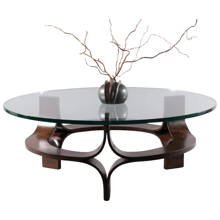 round rosewood mid century modern sculptural bentwood glass top coffee table