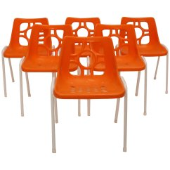 Orange Stackable Chairs White Dining Set Of 4 Plastic Stacking 1960s Nobarock Moderne