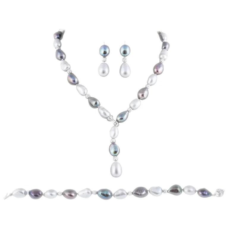 Fresh Water Black & Grey Lariat Necklace, Bracelet