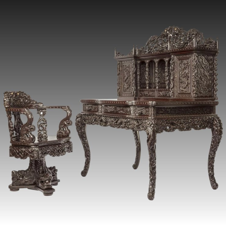 desk chair made shabby chic slipcovers for wingback chairs a meiji period carved hardwood and the panama rubylux
