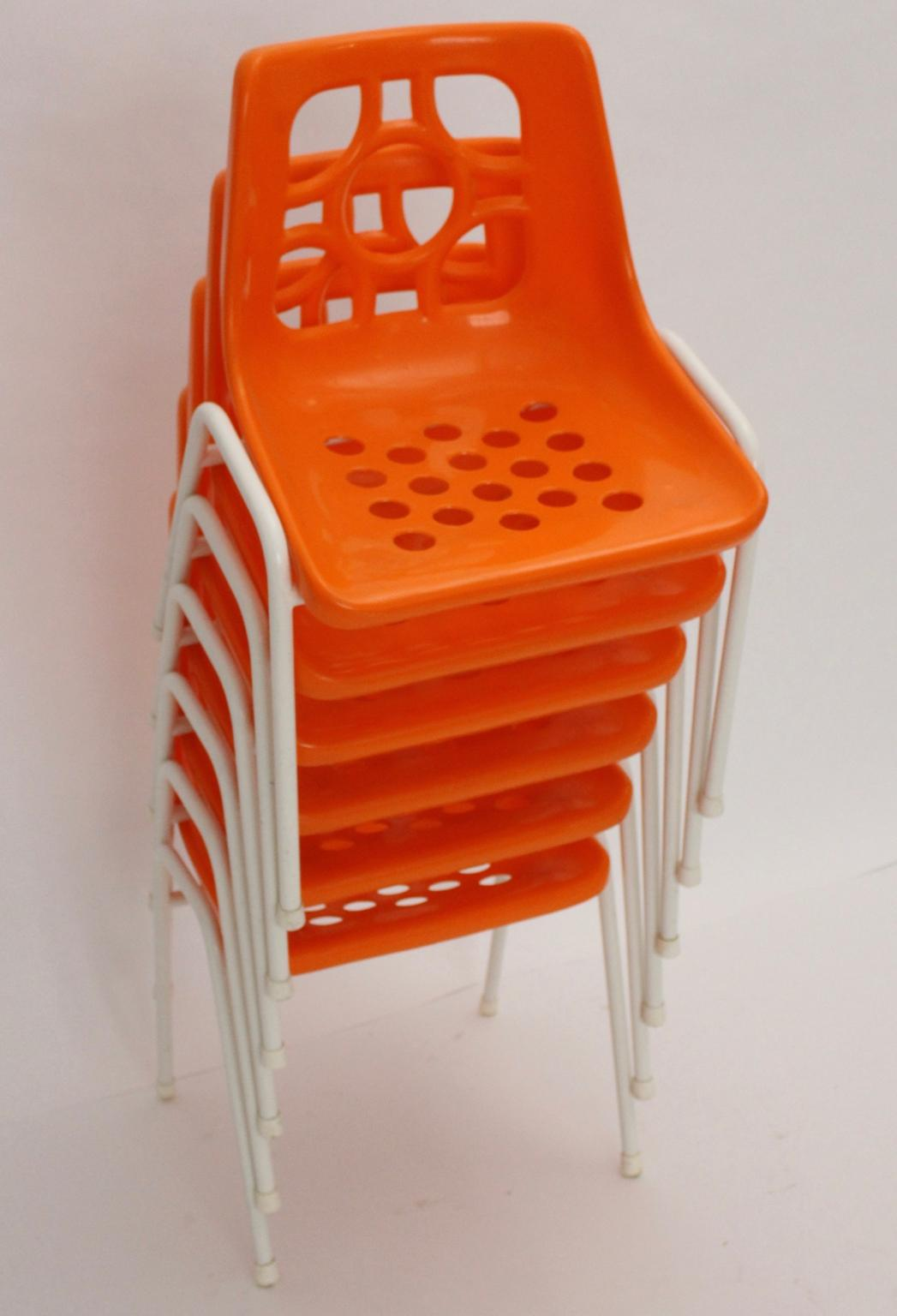 orange stackable chairs wooden eddie bauer high chair plastic stacking 1960s from nobarock on rubylux