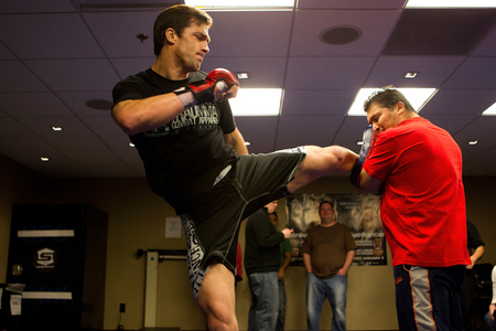 LAS VEGAS, NV - JANUARY 04: Luke Rockhold works out for the media during the Strikeforce Open Workouts on January 4, 2012 in Las Vegas, Nevada. (Photo by Esther Lin/Forza LLC/Forza LLC via Getty Images)