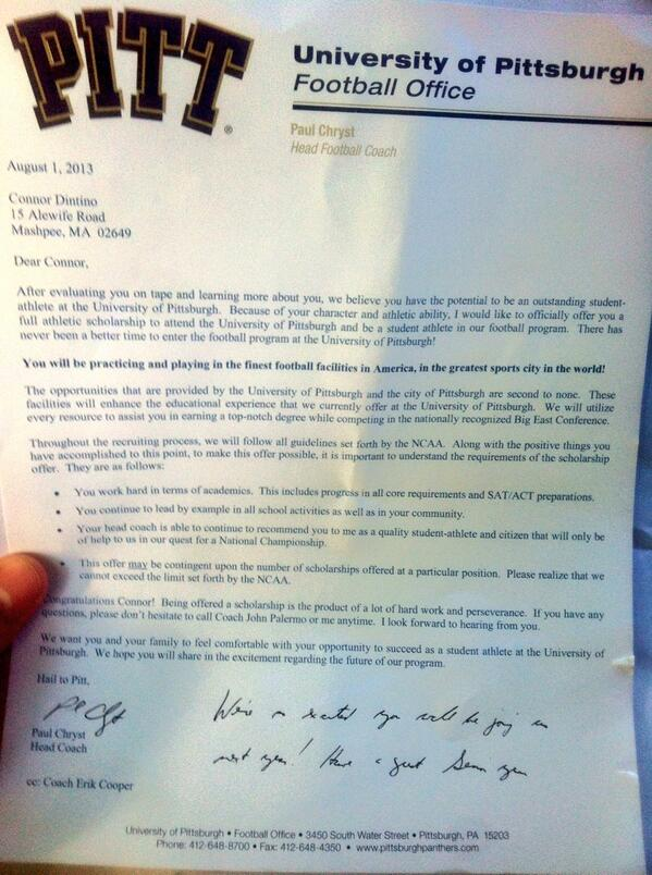 What college football scholarship letters look like The