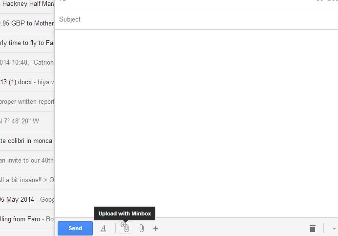 Minbox Chrome Extension: Send large Gmail Attachments