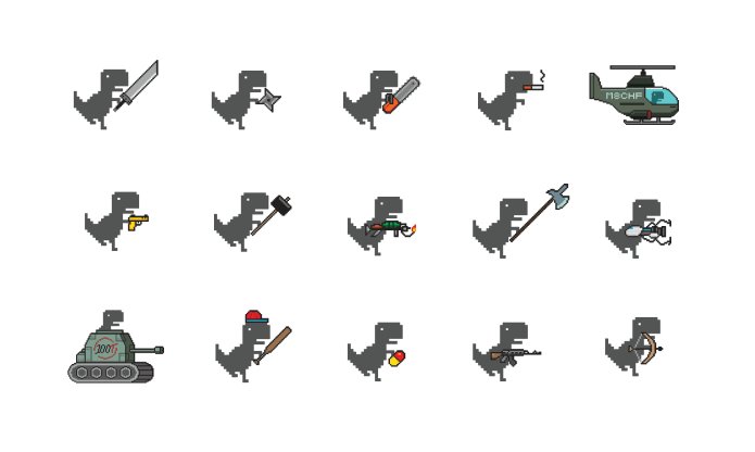 The Chrome Dinosaur game — but with guns, tanks, and drugs