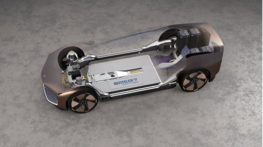 The Theorema is built on a electric skateboard chassis.