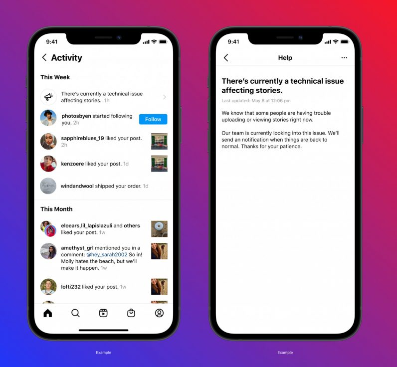 Instagram is testing a feature that'll notify you about outages