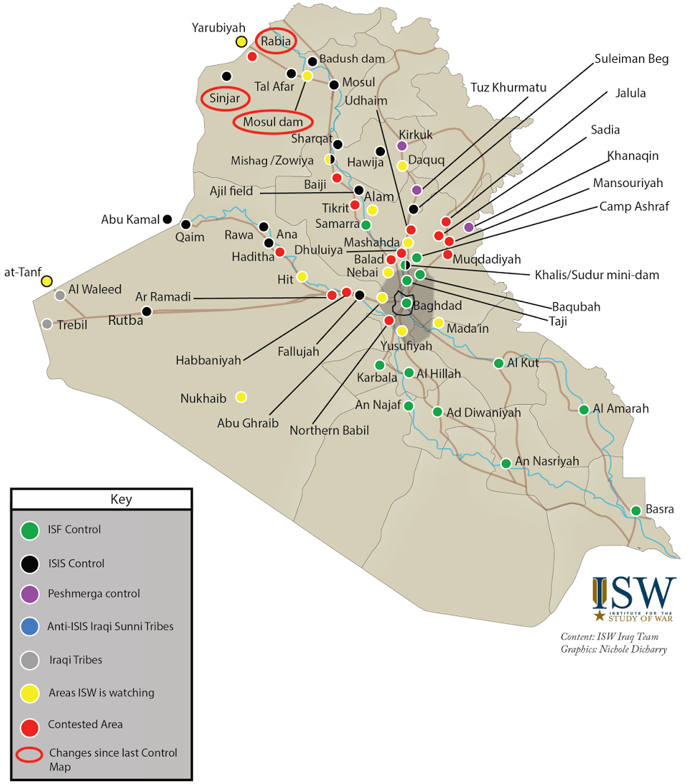 ISIS's war in Iraq as of August 2014