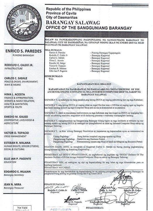 Dota 2 Banned In Philippines Dasamarias Cavite PH