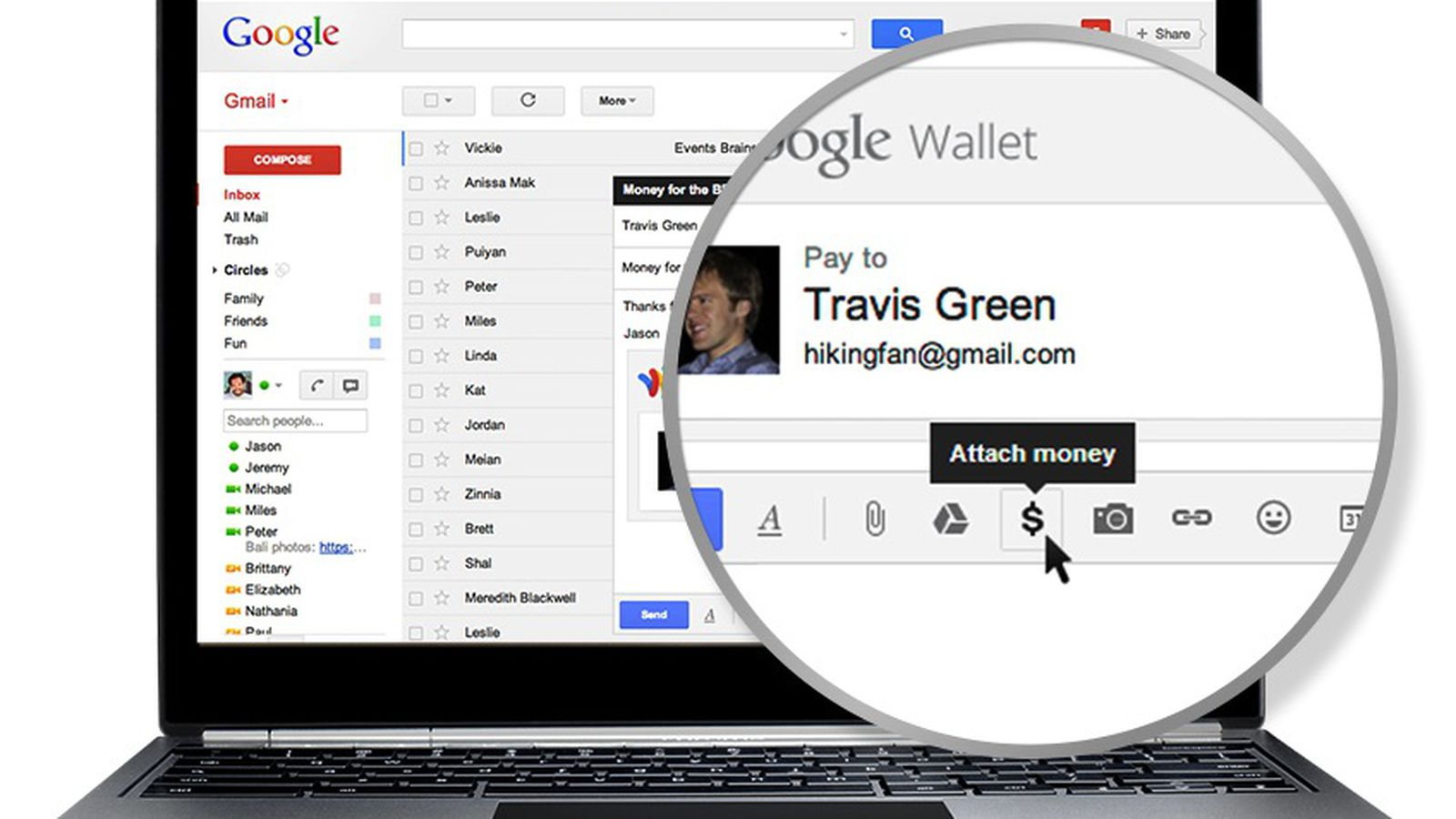 Google Wallet now lets you send money as an attachment in