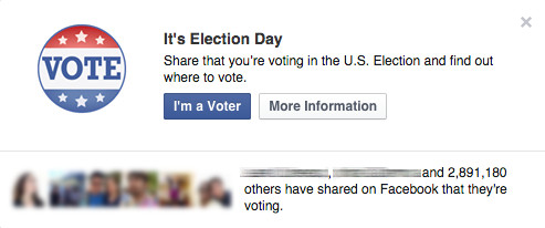 Facebook I voted button