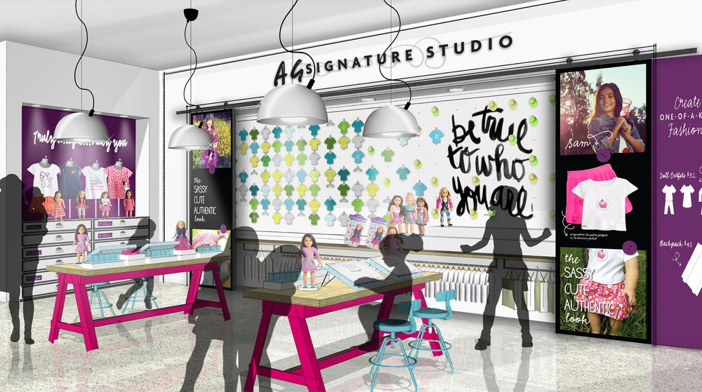 A rendering of the AG Signature Studio, where shoppers can customize clothes and accessories for their dolls and themselves.