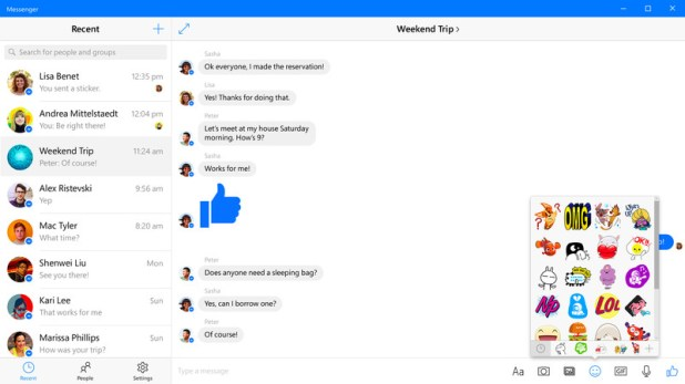Facebook Messenger Windows 10
