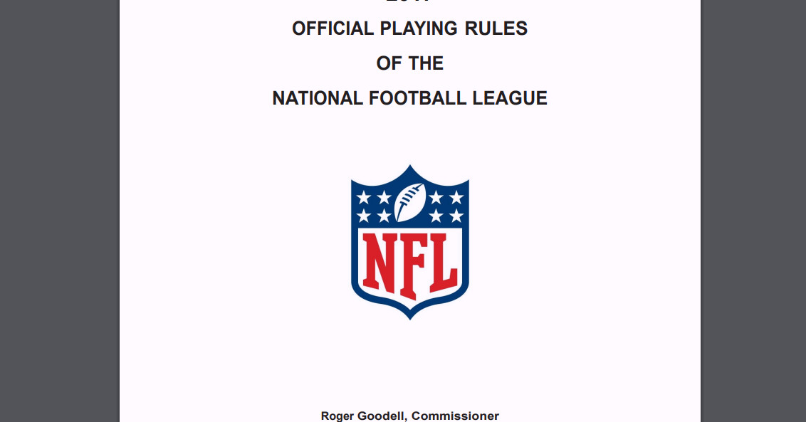 The new NFL rule book contains a page that says 'delete