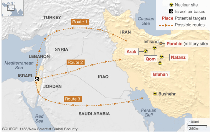 Iran's nuclear sites and possible Israeli strike plans