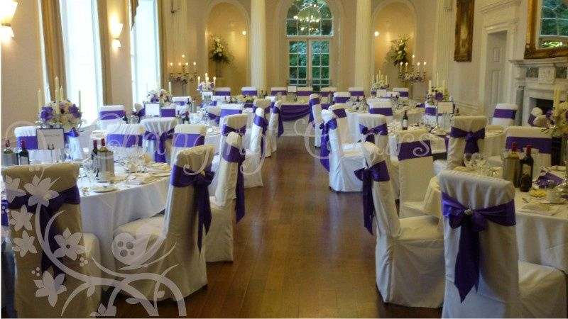 wedding chair covers burton on trent ethan allen recliners chairs changing florist derby cadbury purple sashes
