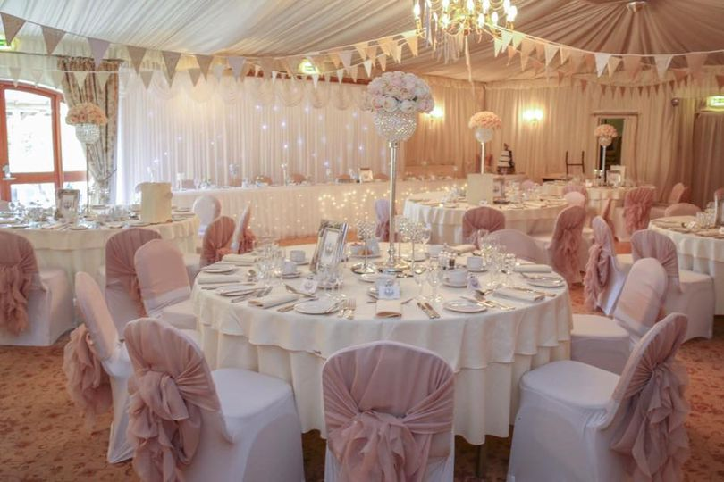 chair cover hire shrewsbury 2 chairs and table set elegant finishing touches blush ruffle hoods