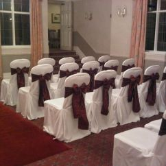 Chair Cover Hire Ellesmere Port Extra Big Folding Events Hq Lace Hoods With Taffeta Sashes