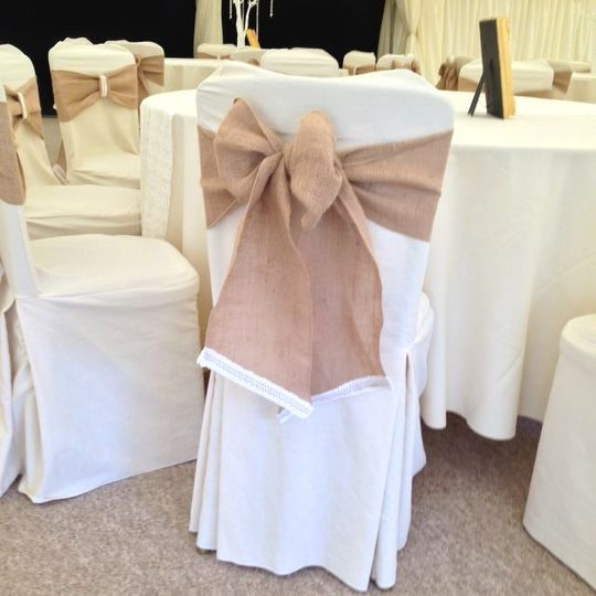 chair cover hire inverclyde how much is a high at walmart pink ruffle hood from ellis events bespoke hessian lace sash