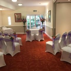 Chair Covers For Weddings Basingstoke Lane Black Leather Office Red Lion Hotel Cermony Room