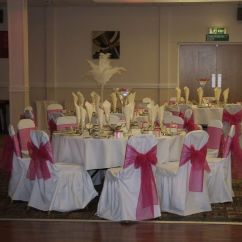 Wedding Chair Covers Swansea Rocker Gaming Bluetooth And Feathers In Vases From Decorators