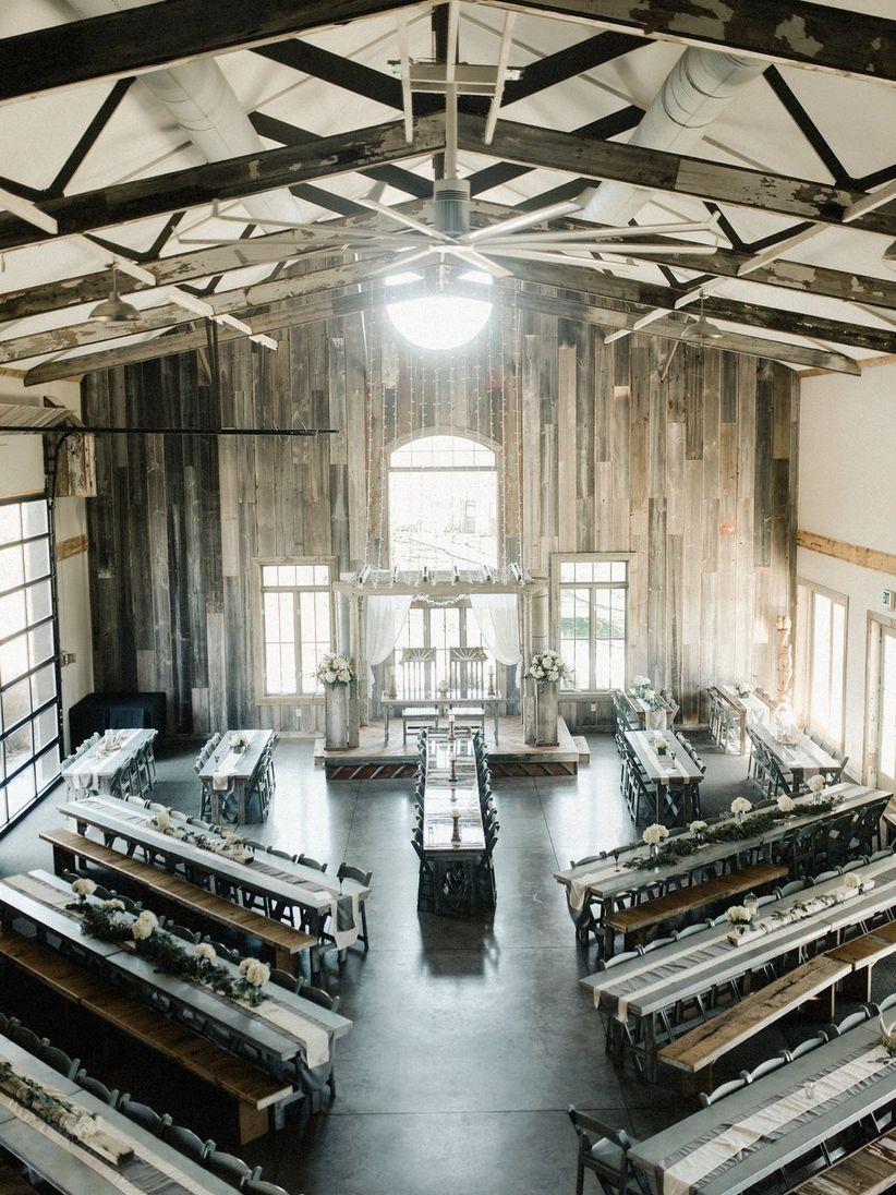hight resolution of modern barn wedding reception