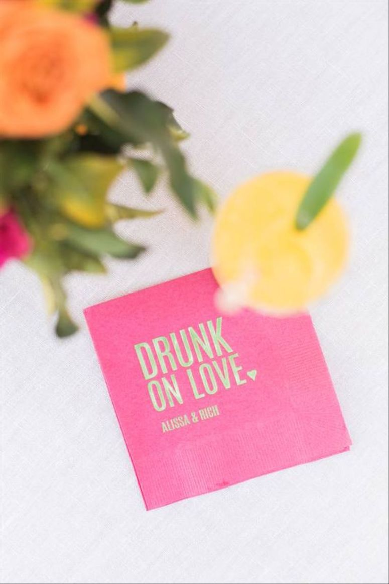 drunk on love napkins